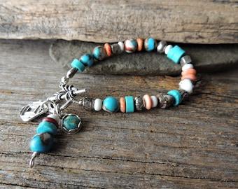 Bracelet en turquoise, Style rustique fabriqué à la main, du Sud-Ouest, Artisan superposition bijoux, argent à la main, bijoux, bijoux tendance, Chic urbain