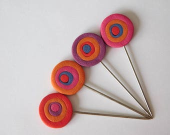 Polymer Clay Pins, decorative pin toppers, blocking pins, quilters T pins
