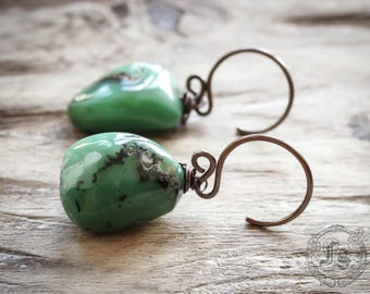 Chysophrase Stone Ear Weights. Sudri Hangers in 14g.
