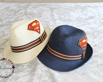 Super Hero Fedora - Blue Fedora - Summer Hat - Boys Straw Hat - Ivory Boys Hat - Beach Hat - Child Fedora - Ring Bearer Fedora - Boys Cap