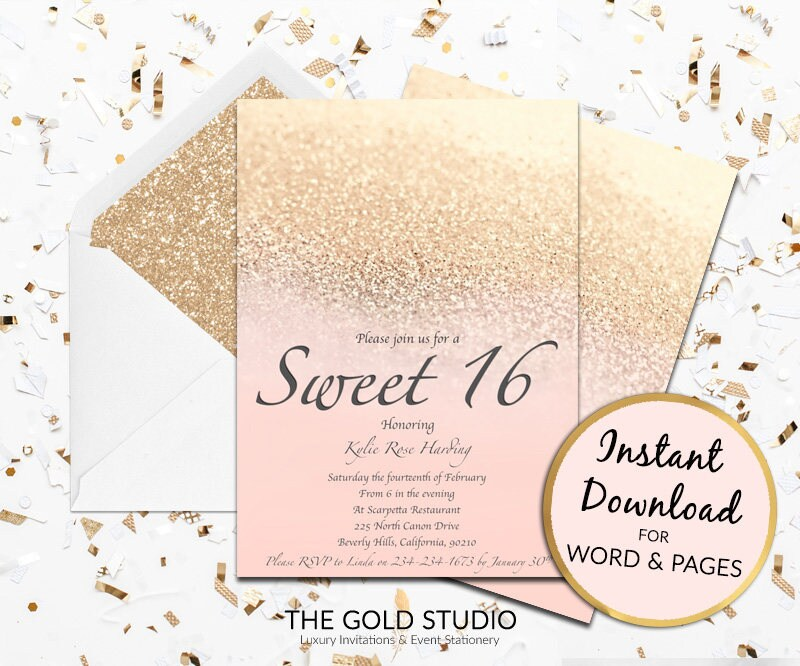 Sweet 16 invitation blush peach gold glitter sweet sixteen pink sweet 16 invitation blush peach gold glitter sweet sixteen pink invite template modern birthday mac or pc word or pages instant download stopboris Images
