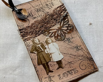 Mixed media tag, Journal Tag, Vintage Style Tag, Gift Tag, Hang tag, Junk journal tag, handmade tag, Lace collage tag, stamped tag,