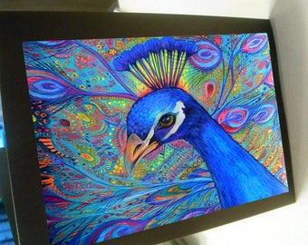 greeting card zentangle peacock blank card