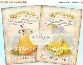 SALE 40% OFF - Shabby Chic Lemonade - Large Images - Backgrounds - 5x7 inch - Digital Print - Ephemera Sheet - Tote, Bags, t-shirts Download
