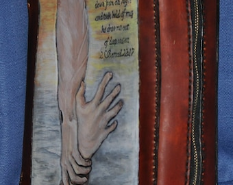 """Handcarved Leather Bible Cover """"He pulled me up from the deep"""""""