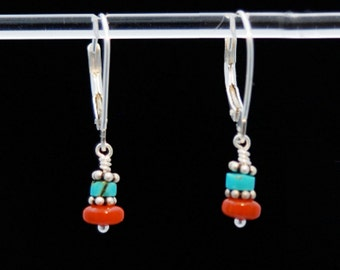 Turquoise Red Coral and Silver earrings / Turquoise and Coral earrings / Turquoise earrings / Coral earrings / Gif tfor Mom