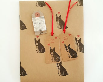 Frenchie Gift Wrapping Set (Essentials Option): French Bulldog Kraft Paper Sheet, 2 'Give Us A Kiss' Gift Tags, 5m Hemp Twine.