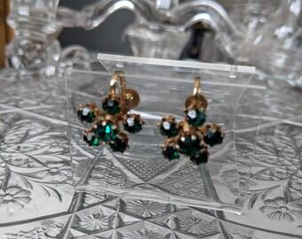 Dainty Coro Green Flower Earrings