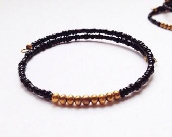 Eco Friendly Minimalist Bracelet Gold & Black
