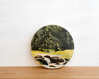 Paint by Number Circle Art Block 'Mountain Stream' -  vintage landscape, evergreens, river valley
