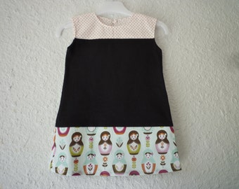 Dress child, straight form, organic jersey cotton and black light blue Russian doll patterns, size 2 years