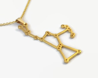 24 Carat Gold Plated Orion Constellation Pendant Necklace - Astronomy jewellery gift for fans of space and stargazers - Orion the Hunter