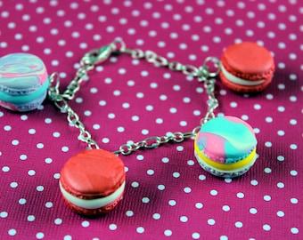 Macaroon Charm Bracelet Raspberry Cream and Rainbow