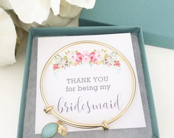 Gold bracelet Initial Bangle Bracelet, Bridesmaid Bracelet Bridesmaid Gift Personalized Gift, Initial Jewelry Best Friend Gift Birthday Gift