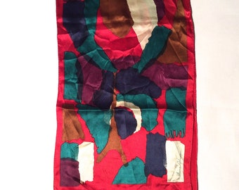 Vintage 1980s Abstract Graphic Jewel Toned Red Green Color Block Artistic Ginnie Johansen Long Silk Scarf