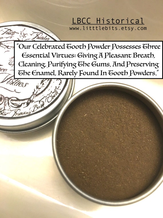 Victorian Makeup Guide & Beauty History Civil War Tooth Powder Of The Three Essential Virtues 1860-Organic Natural Way To Whiten Teeth White Teeth Naturally Historical Toothpowder $5.00 AT vintagedancer.com