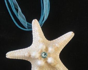 Genuine White Sea Star and Swarovski Crystal Pendant