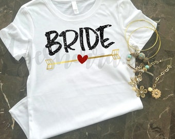Bride Shirt, Bride T-Shirt, Wedding Shirt, Black, Gold and Red Glitter, Perfect for Wedding and Bridal Parties, Great Gift For the Bride