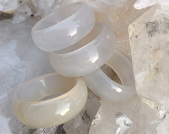 Thick White Agate Stone Ring, Agate Gemstone Band, Stackable Gemstone Ring