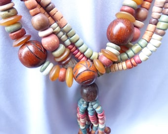 Long Multi Color Wooden Bead Vintage Handmade Necklace