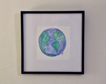 Watercolor, globe, black frame