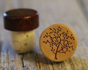 BEST PRICE ** Lot of Personalized Custom Wine Stopper, Laser Engraved Cork Bottle Topper, Reusable Rustic Wedding Favor --WS-L-mkTree