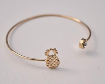 gold pineapple cuff bracelet