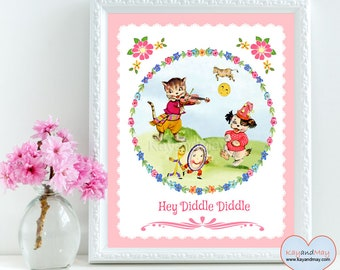 Hey Diddle Diddle - Nursery Rhyme art print - Wall Art Decor - Baby shower gift - cute birthday girl gift - INSTANT DOWNLOAD # WA-3-A