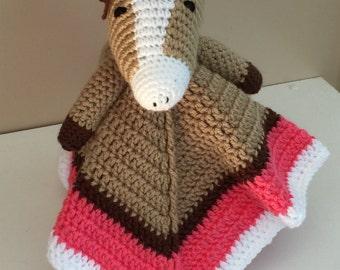 Crochet Horse Lovey Snuggle Security Travel Blanket Brown Beige Tropical Pink Boy Girl