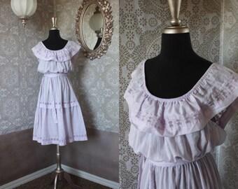 Vintage 1970's 80's Purple Boho Peasant Dress XL