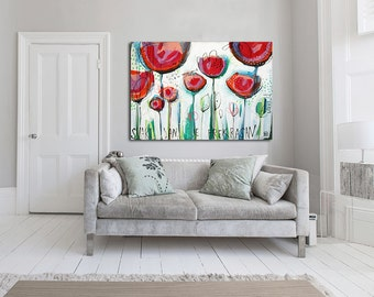 "Large giclée print with, ABSTRACT print of original painting, green, white, red ""Every day is beautiful"""