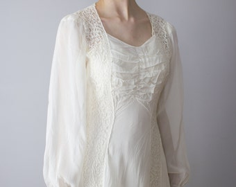 Ethereal 1930's Sheer Lace and Chiffon wedding gown / XS S / 1920's / flapper / art deco