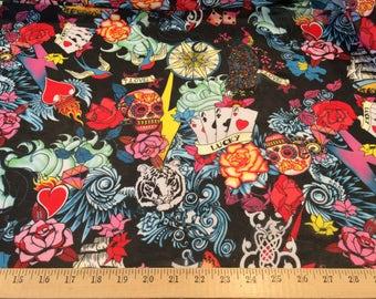 "Black tatoo print 100% polyester chiffon fabric 58"" wide sold by the yard"