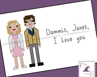 Rocky Horror Picture Show Dammit Janet! cross stitch - PDF Pattern - INSTANT DOWNLOAD