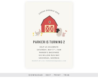 Barnyard Birthday Invitation w/ Picture | First Birthday Invitation, Farm Party, Farm Birthday, Barnyard Party, Printable Template, PDF