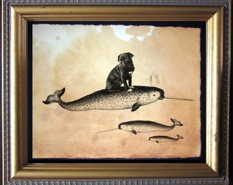 Black Pug Riding Narwhal- Vintage Collage Art Print on Tea Stained Paper -  dog art - dog gifts - mother's day gift
