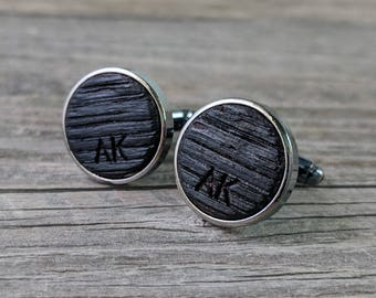 Cufflinks Crafted from a Bourbon Barrel / Personalized Groomsmen Gifts / Custom Cufflinks / Personalize with Initials / Wedding Cufflinks