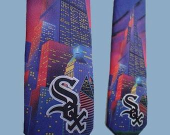 Vintage 80s Ralph Marlin Tie Chicago White Sox