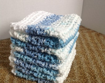 Crochet Dishcloth, 4 Cotton Wash Cloths, Wash Cloths, Crocheted Dish Cloth, Crochet WashCloth, EcoFriendly Wash Cloth, EX LARGE, White Blue