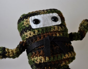 Mini Ninja Plush - Camo Forest Woodland - Green Brown Black