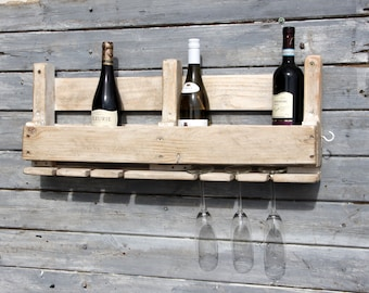 Upcycled reclaimed Wood wine rack for 6 bottles of wine with wax finish by Thyme and Tide
