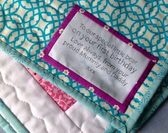 Personalised label for quilts