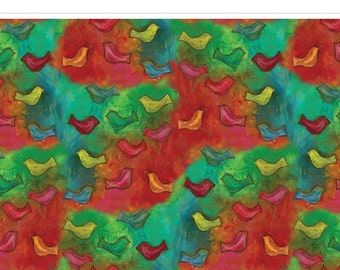 """Modern Birds Red, Blue, Green, Orange - Up, Up, and Away - Frond Design Studios -- Little Birdies Quilt Fabric - 1 Yard 34"""" End of the Bolt"""