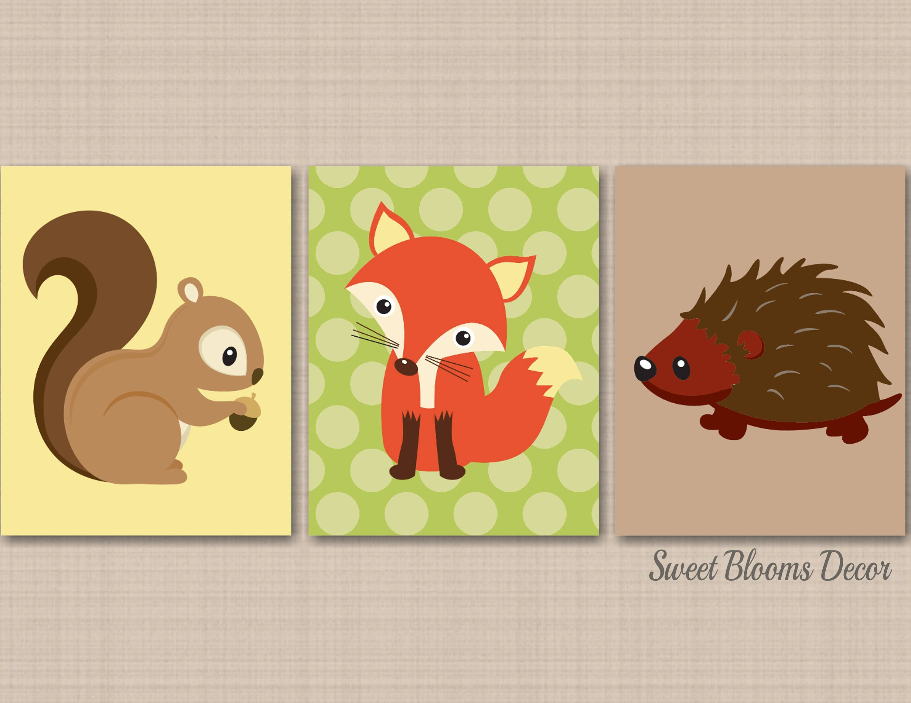 Woodland Nursery Wall Art Woodland Forest Animals Decor Fox