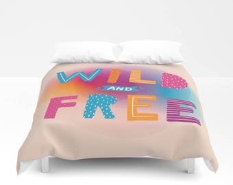 wild and free Duvet Cover pink blue yellow bedding Twin and twin xl size duvet cover bedding colorful