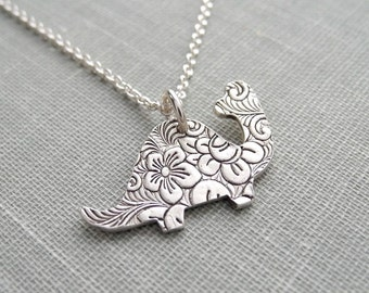 Dinosaur Necklace, Flowered Dinosaur, Floral Dinosaur, Brontosaurus Necklace, Fine Silver, Sterling Silver Chain, Made To Order