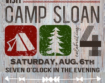 Camping invitations- birthday, shower, party - Custom digital or printed invitation + FREE SHIPPING!