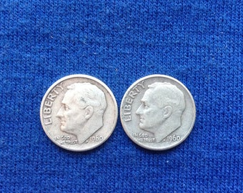 1960 D Roosevelt Silver Dimes Old US Coins for Coin Collecting 90 percent Silver Set of 2
