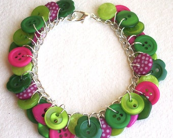 Lime, hot pink and green button charm bracelet Button Jewellery Button Jewelry UK Handmade Free UK Shipping
