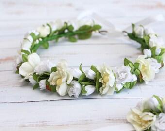 white flower crown flower girl crown for girl  first communion flower head wreath , holy communion headpiece, little girl halo